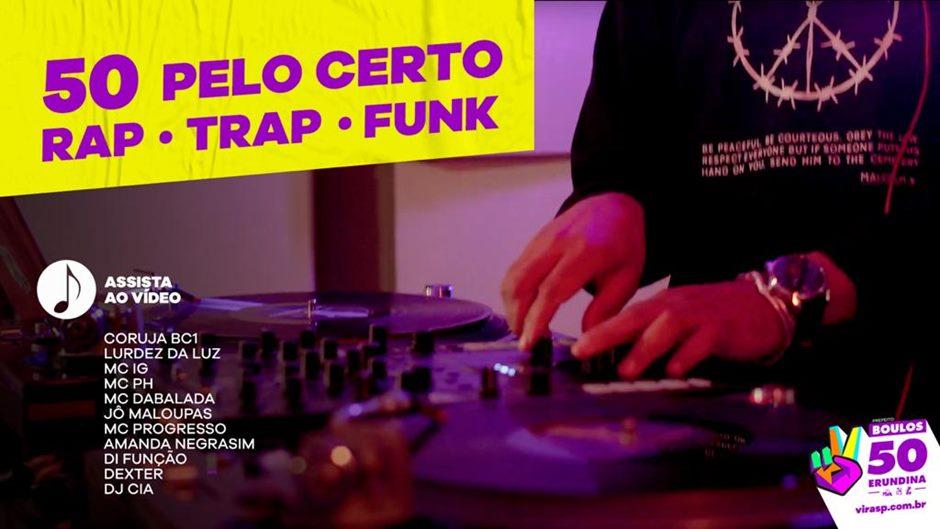 """cypher """"50 pelo certo"""": Coruja bc1, Lurdez da Luz, MC IG, MC PH, MC Dabalada, Jô Maloupas, MC Progresso, Amanda NegraSim, Di Função, Dexter e produção musical de DJ Cia."""